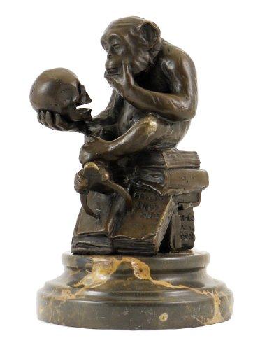 Wolfgang Hugo Rheinhold - Skulptur AFFE mit Schädel in Bronze - signiert Milo - Kunst Kaufen - Skulpturen Kaufen - Deutscher Bildhauer - Bronzefigur - Bronzeskulptur