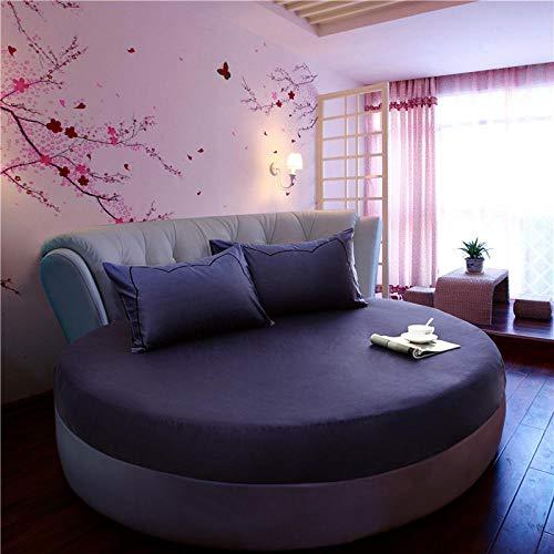 HPPSLT Protector de colchón/Cubre colchón Acolchado de Fibra antiácaros, Transpirable, Cama Redonda de algodón Color sólido Engrosamiento-Azul Oscuro_2.2m