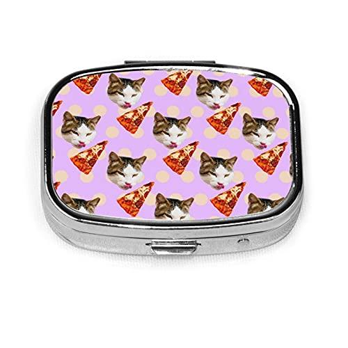 Cat Pizza Lover Custom Fashion Silver Square Pill Box Medicine Tablet Holder Wallet Organizer Case For Pocket Or Purse Vitamin Organizer Holder Decorative Box