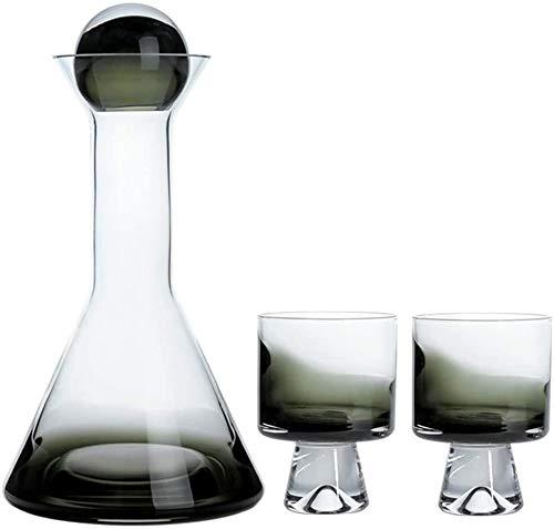 Decantador de whisky, decantador de vino, con revestimiento de cobre, para whisky, vaso, degradado ahumado, hermoso juego de decantador de vino, juego de cristal ahumado sin plomo (color ahumado)