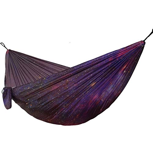 Printing Starry Sky Hammock Outdoor Camping Garden Hanging Chair Parachute Fabric Sleeping Bed Hammock (Color : 1)