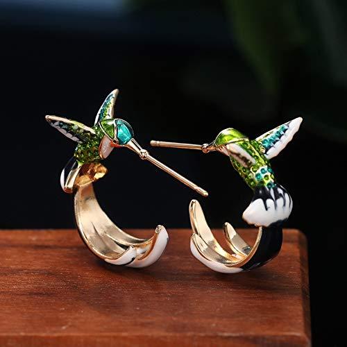 Earthily Pendientes estética, Flying Hummingbird Pendientes Colorido Metal Lindo Esmalte Colibrí Pájaro Pájaros Pendientes Mujeres Joyería (Color : B)