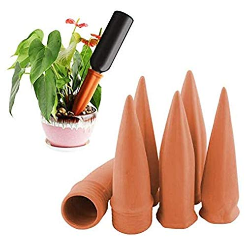MorTime Plant Watering Devices, Plant Waterer Self Watering Terracotta Spikes Automatically Water Your Indoor and Outdoor Plants While On Vacation (6pc)