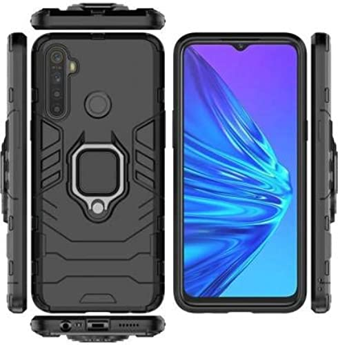 Zivite Armor Shockproof Soft TPU And Hard PC Back Cover Case With Magnetic Ring Holder For Realme C3 Armor Black