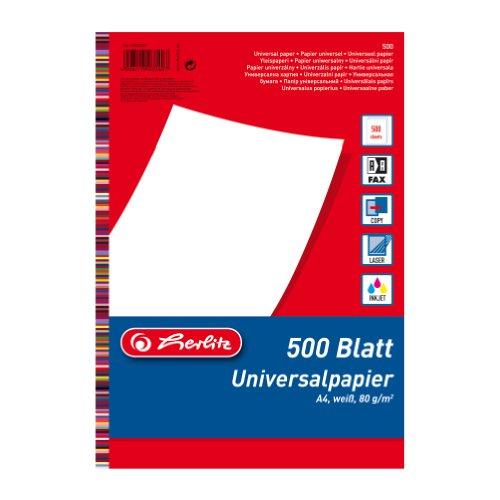 Herlitz 5033402 universeel papier A4 80g, 500 vellen wit, houtvrij