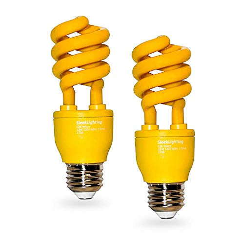 SleekLighting 13 Watt Yellow Bug Light Bulbs for Outdoor – General Purpose Spiral CFL Yellow Bug Repellent Light Bulbs- UL Approved- Uses 13 Watts of Energy, 120 Volts, E26 Medium Base. (Pack of 2)