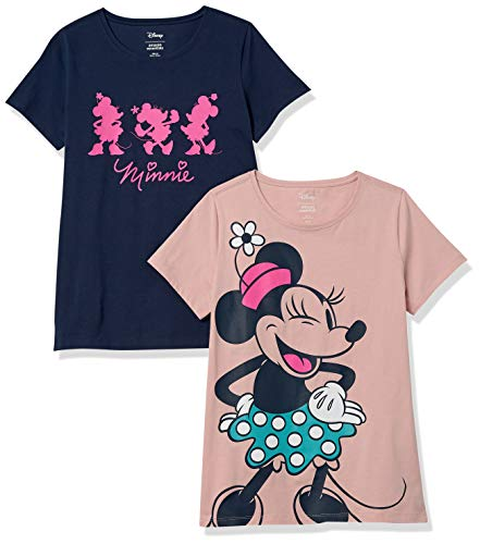 Amazon Essentials Disney Star Wars Marvel Crew-Neck T-Shirts Fashion, 2-Pack Forever Minnie, L