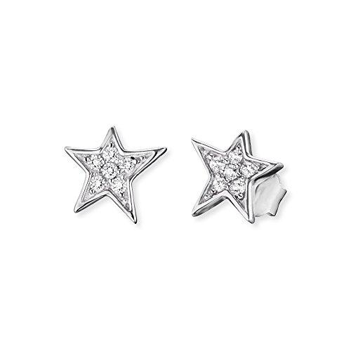 Engelsrufer Stern Ohrstecker für Damen rhodiniertes 925er-Sterlingsilber Weiße Zirkonia Größe 7,5 mm