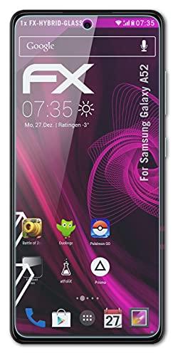 atFolix Glasfolie kompatibel mit Samsung Galaxy A52 Panzerfolie, 9H Hybrid-Glass FX Schutzpanzer Folie