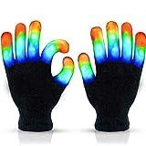DAGONGJI Guantes con luz LED Intermitente para Dedos, Juguetes Divertidos para niños con 3 Colores, 6 Modos para niños, Ciclismo, Halloween, Noche de hogueras, cumpleaños, Fiesta, Discoteca, Deporte