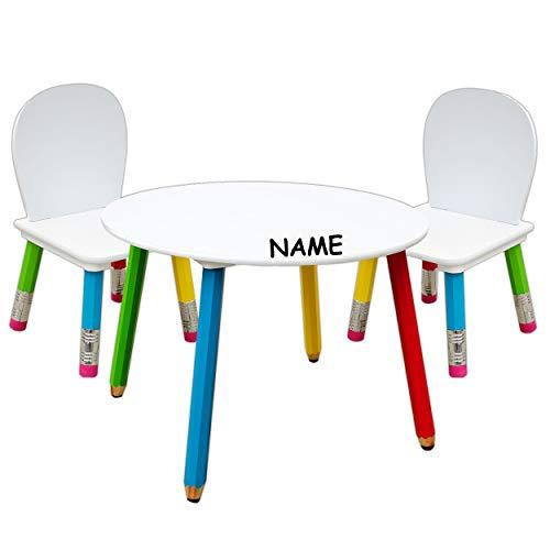 alles-meine.de GmbH 3 TLG. Set: Sitzgruppe für Kinder - aus sehr stabilen Holz - Bunte Stifte - inkl. Name - rot / grün / gelb / blau / weiß - Tisch + 2 Stühle / für 1 - 5 Jahre ..