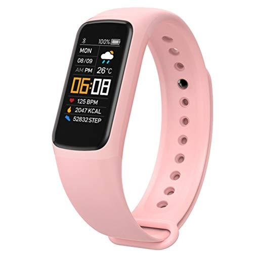 HDDFG Reloj de Pulsera Inteligente Hombres Mujeres Presión Arterial Pulsera de Fitness Frecuencia cardíaca Actividad Impermeable Smartband (Color : Pink)