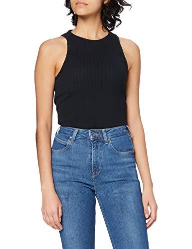 Lee Ribbed Tank Camiseta, Negro, XS para Mujer