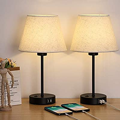 Table Lamp, Bedside Lamp Set of 2 with Dual USB Charging Ports, Modern Nightstand Light Perfect for Bedroom, Living Room, Study Room