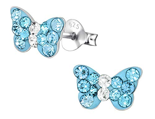 Hypoallergenic Sterling Silver Crystal Butterfly Stud Earrings for Kids - Aquamarine