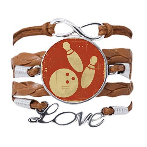 DIYthinker Bowling Sport Illustration Rot Muster Armband Love Chain Seil Ornament Armband Geschenk