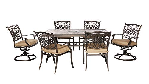 Hanover MONDN7PCSW-2 Monaco 7-Piece Rust-Free Aluminum Patio Dining Set Outdoor Furniture, Tan