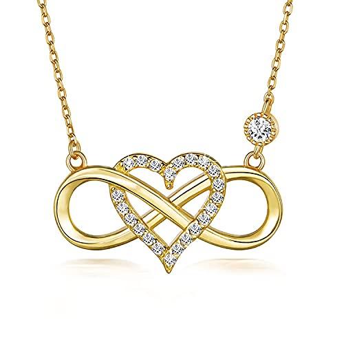 Victoria Kraft – Cadena de corazón con símbolo de infinito – Collar de plata 925 chapado en oro con circonitas – Juego de joyas para mujer con piedras y caja de regalo, regalo de cumpleaños