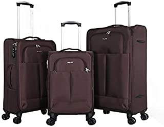 Ashare Luggage Trolley Bags (Set Of 3Pcs)- Brown, Unisex