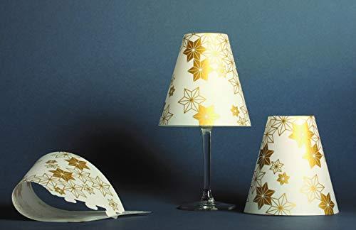 3 pantallas de lámpara para copas de vino con estrellas doradas.