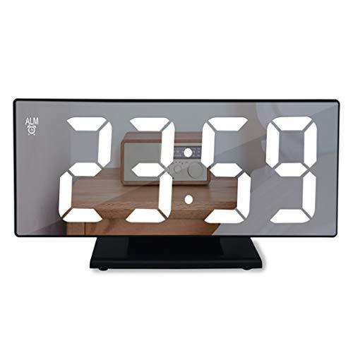 Wekker 's nachts met fase 3 dimbare snooze ° C / ° F USB-stroomvoorziening LED spiegel-oppervlakken digitale klok voor kinderen startpagina keuken kantoor