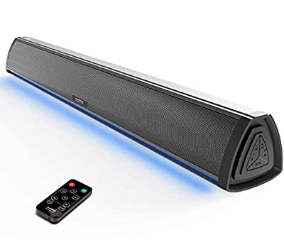 Soundbar PC and TV Speakers, Bluetooth Sound Bars for TV Compact with RGB LED Display, Air Tube & 2.0 Channel Amplifier Wireless with Remote Control for Gaming, PC and TV by Philex Electronic Ltd