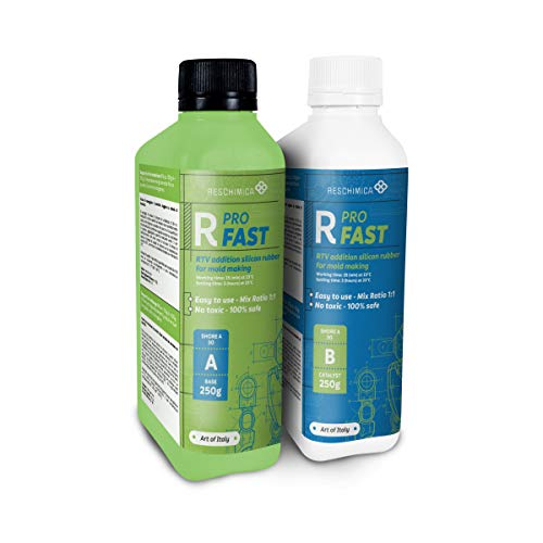R PRO FAST (500 g) è una gomma di silicone, che indurisce in 30 minuti, 100% sicuro, NO tossica, liquida con catalizzatore al platino