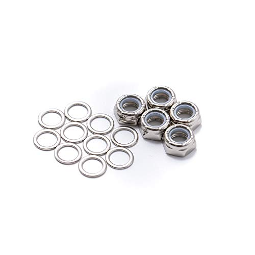 ELOS Skateboards Truck Mounting Hardware Kit Truck Axle Washers (Speed Rings) Nuts for Speed Bearing Performance