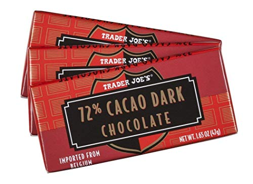 Trader Joe's 72% Cacao Belgian Dark Chocolate Bars (1 Pack of 3)