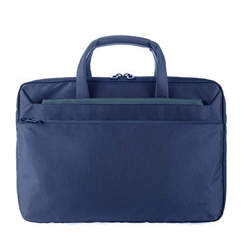 Tucano WorkOut3 SLIM Laptop-Tasche Schultertasche Aktentasche für MacBook Air/Pro 13 Zoll und Ultrabook, iPad, Tablet wasser- und schmutzabweisend mit Anti-Schock-System - Blau