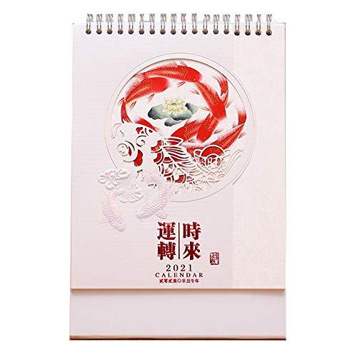 GAOXQ Chinesische Keitskalender 2021 Kalender 2021 Schreibtisch für das Mondjahr des Ochsen,17.2x8x25cm,Karpfenbild Im Chinesischen Stil Umlegekalender 2021 für Wohnzimmer Schlafzimmer