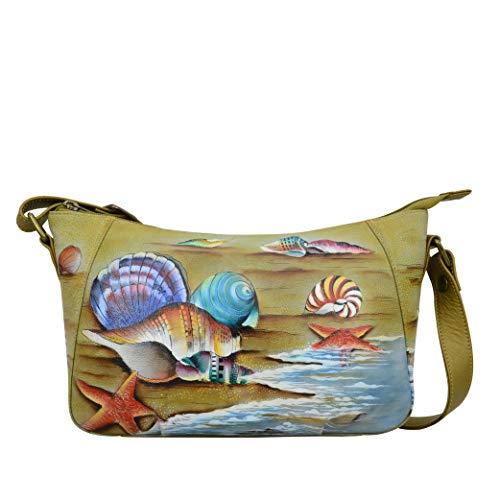 Anuschka Damen-Hobo, echtes Leder, handbemalt Gr. One size, Geschenk des Meeres