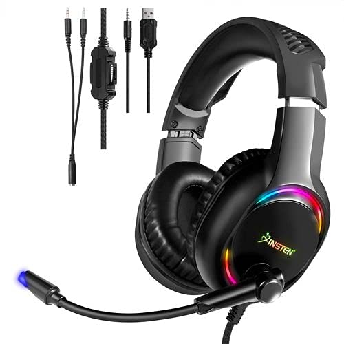 Gaming Headset Compatible with PS4, PS5, Xbox, Nintendo Switch, PC, Headphone with Microphone, Noise Cancelling, Stereo, RGB LED Light, Black, 50mm Driver