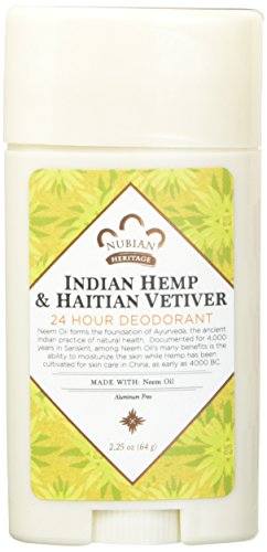 Nubian Heritage Deodorant - all Natural - 24 Hour - Indian Hemp and Haitian Vetiver - with Neem Oil - 2.25 Ounce - Pack of 2