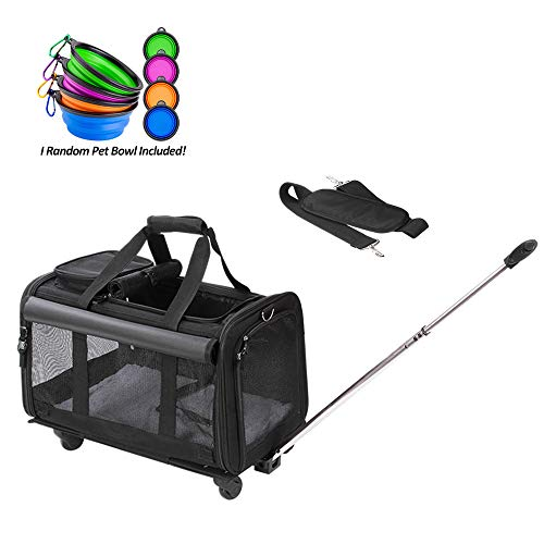 Coopeter Pet Carrier Stroller with Wheels for Travel and Outdoor,Easy to Fold,Durable Mesh Panels & Washable Fleece Mat (Black)