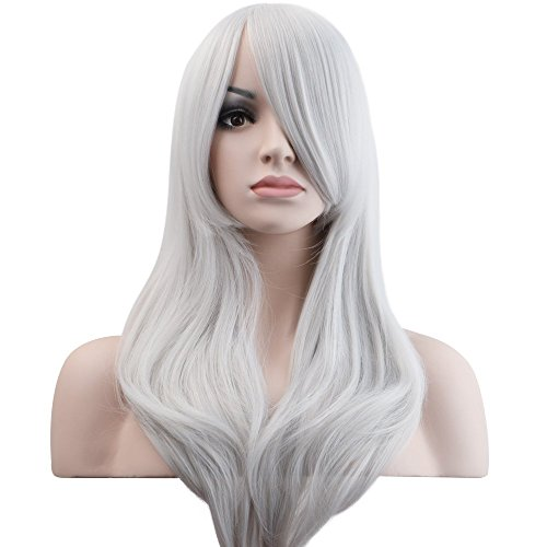 "YOPO 28"" Wig Long Big Wavy Hair Women Cosplay Party Costume Wig(Silvery)"