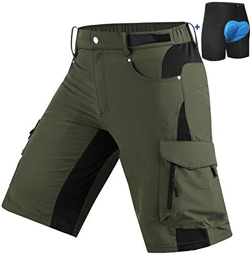Cycorld Herren MTB Hose mit Gepolstert Mountainbike Hose Kurze, Radhose Fahrradhose kurz MTB Shorts Herren Sport Bike Shorts (Grün mit Unterwäsche, M (Waist:30