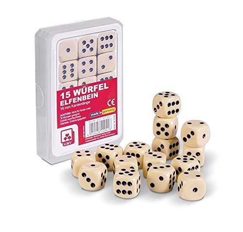 Nrnberger-Spielkarten 15 Würfel 16mm Elfenbein im Klarsichtetui
