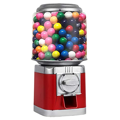 Forkwin Gumball Machine with 10lb Candy Capacity Candy Dispenser Metal Candy Dispenser Machine Red Candy Vending Machine for Home use Business