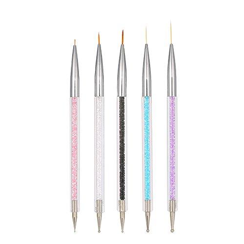 Pincel Acrilico Uñas de 5 piezas con Cristales, Pincel de Acrílico, Línea de Dibujo de Nylon, Herramienta de Manicura