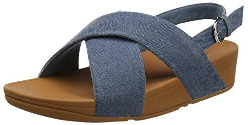 Fitflop Lulu Cross Back-Strap Sandals Bout Ouvert Femme, Bleu (Blue Shimmer-Denim 533), 41 EU