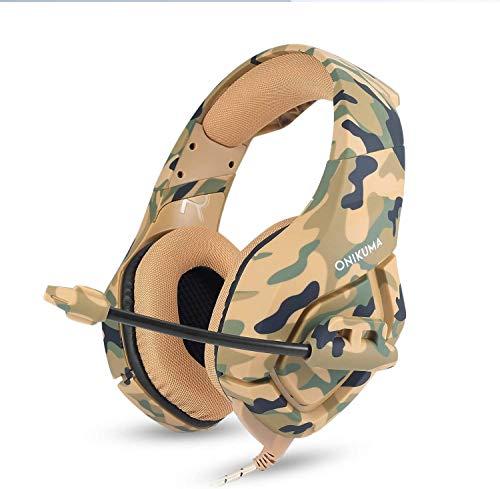 HK Gaming Headset mit Mikrofon, 3,5 mm über Ohr-Kopfhörer Geräusch-Tief Isolierkanne Bass Surround für Spiel durch (Camouflage)