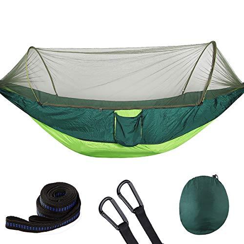 Ai-lir Fácil de Cargar Persona bifurcada Hamaca con mosquitera Red 70D Cama de Swing de Nylon Fuera de los Viajes de Campamento Ligero y Duradero (Color : Green)