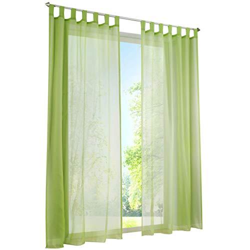 ESLIR Gardinen mit Schlaufen Vorhänge Fensterschal Transparent Schlaufenschal Voile Grün BxH 140x225cm 1 Stück