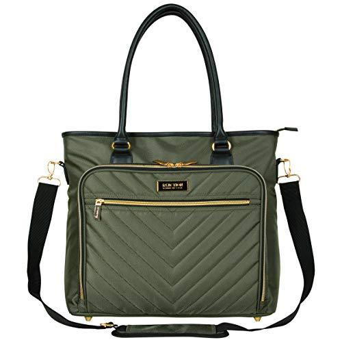 "Kenneth Cole Reaction Chelsea Chevron 15"" Laptop & Tablet Business Tote W/Removable Shoulder Strap, Olive, Laptop"