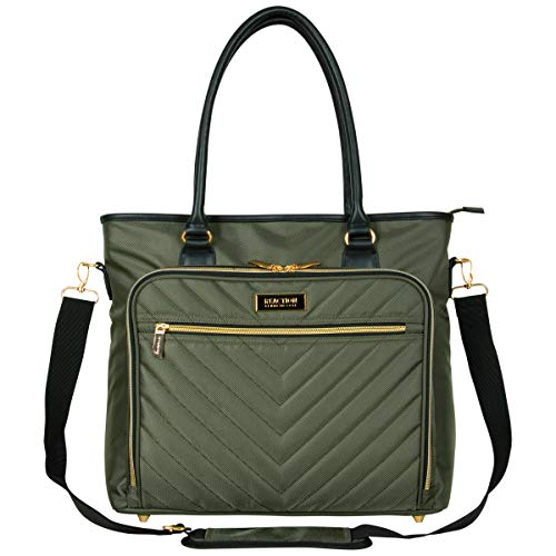"Kenneth Cole Reaction Chelsea Chevron Quilted 15"" Laptop & Tablet Messenger Computer Travel Tote Work Bag with Removable Shoulder Strap, Olive, Laptop"