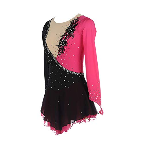 Jolie Blumenstickerei Eislaufen Kleid Handgemacht Eiskunstlaufbekleidung Professionel Hohe Elastizität Rollschuh-Wettkampfkostüm,150cm