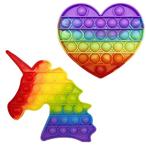 CRAZYCHIC - Pop It Fidget Toy - Popit Push Bubble Giocattolo Bambini Adulti - Gioco Antistress Rilassante Multicolore - Poppit Color Arcobaleno Ragazza Ragazzo - Set - Unicorno + Cuore