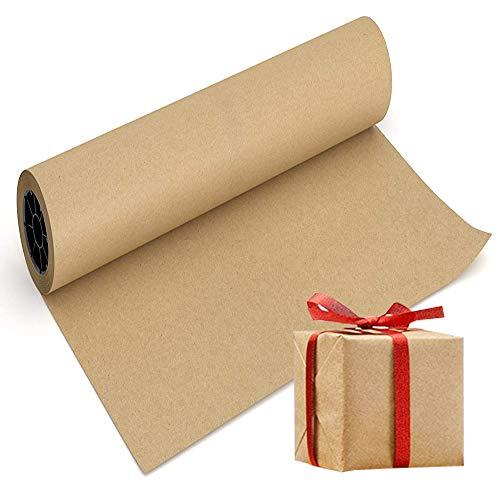 Rollo de papel kraft – rollo de papel marrón de 430 mm x 30,5 m – ideal para artes, manualidades, regalos, postal, envolver, revestimiento de suelo, caminos de mesa