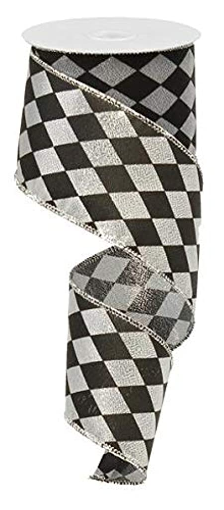 Silver Black Diamond Harlequin Wired Ribbon 2.5 Inches X 50 Yards (150 Feet)